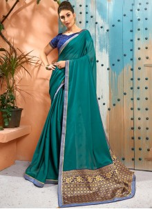 Sea Green Woven Traditional Saree