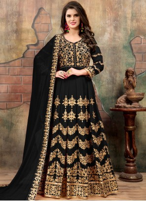 Sensational Faux Georgette Black Floor Length Anarkali Suit