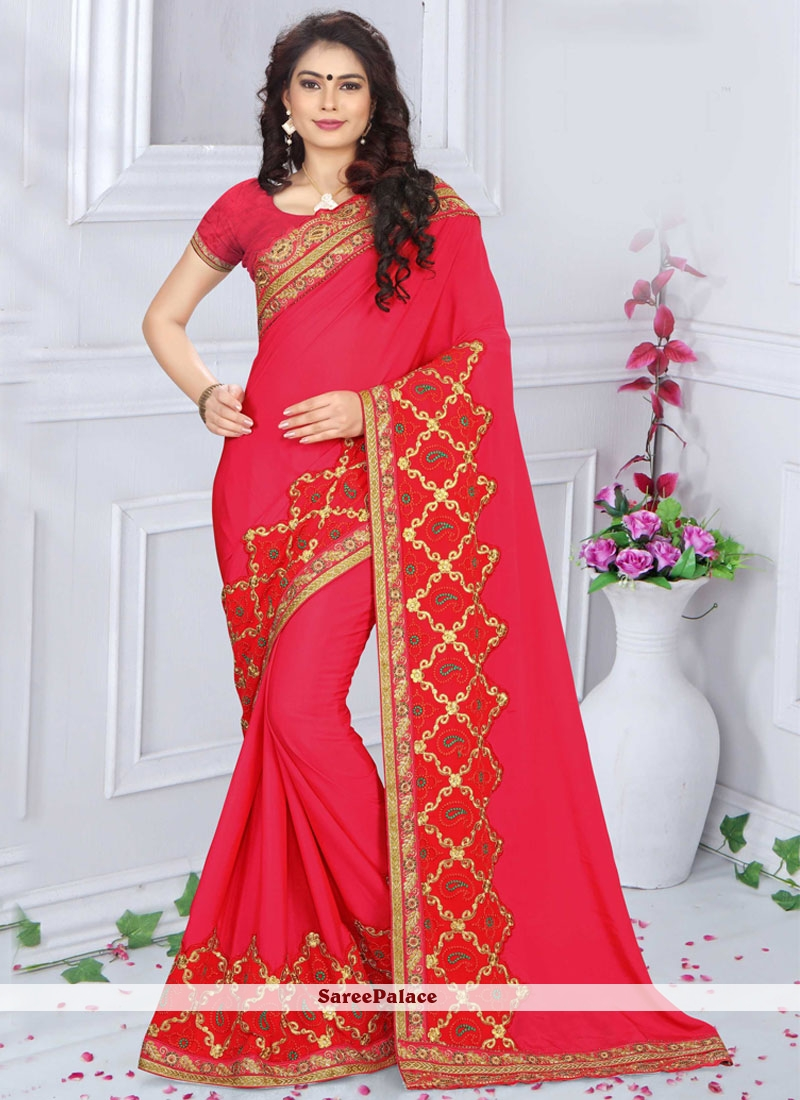 Sensible Art Silk Red Embroidered Work Traditional  Saree