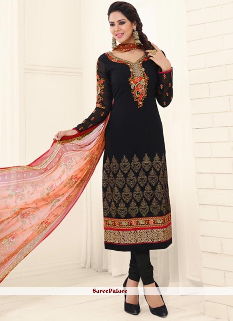 Sensible Faux Georgette Black Embroidered Work Churidar Designer Suit