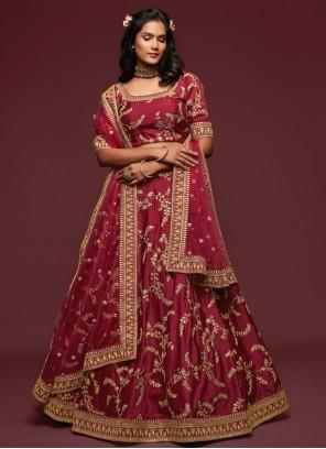 Maroon Sequins Art Silk Lehenga Choli