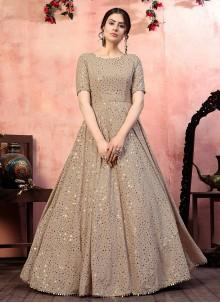 Sequins Beige Designer Gown