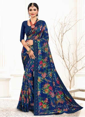 Sequins Blue Designer Saree