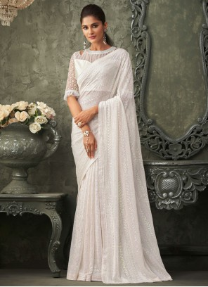 White Sequins Georgette Bollywood Saree