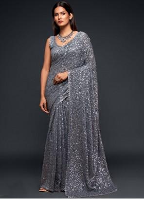 Grey Sequins Classic Designer Saree