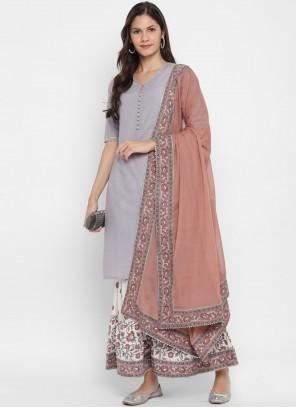 Lavender Sequins Cotton Readymade Suit
