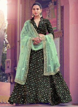 Sequins Fancy Fabric Black Lehenga Choli