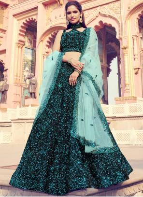 Black Sequins Fancy Fabric Lehenga Choli