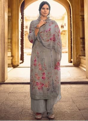Sequins Faux Georgette Designer Pakistani Salwar Suit in Grey