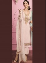 Sequins Faux Georgette Pant Style Suit in Pink