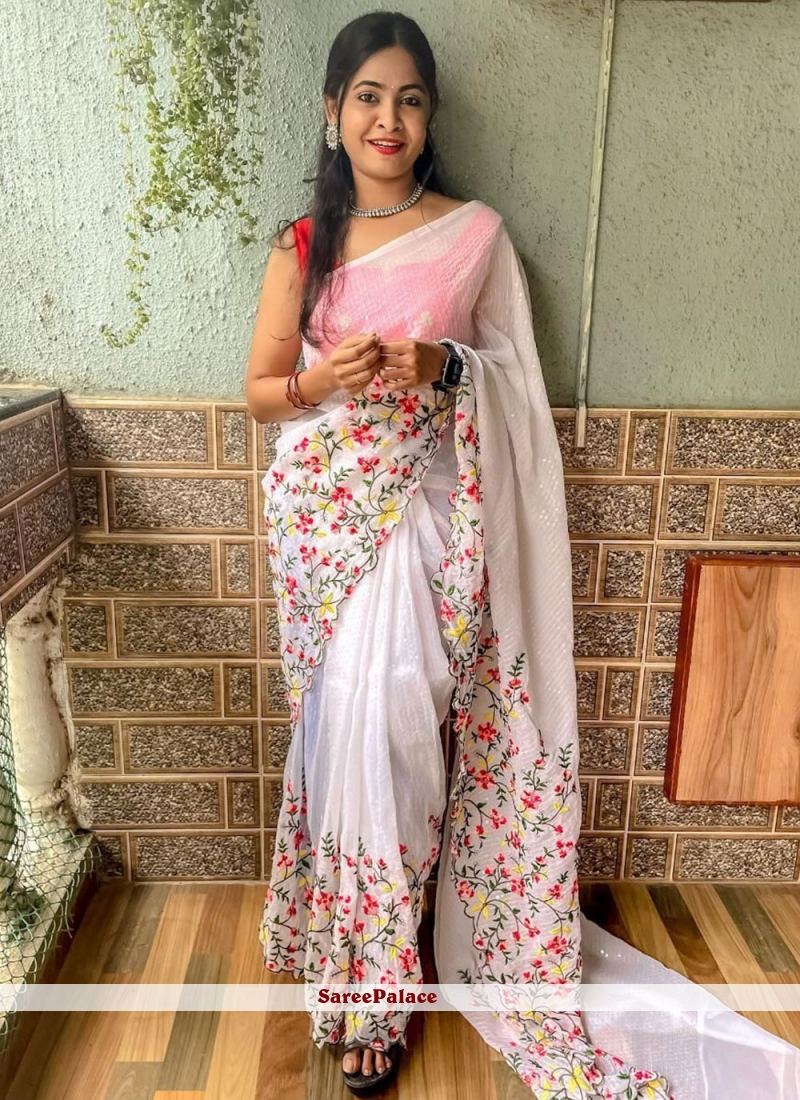 Off White Sequins Faux Georgette Trendy Saree