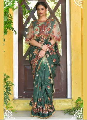 Green Sequins Festival Designer Traditional Saree