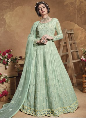 Sea Green Sequins Floor Length Anarkali Suit