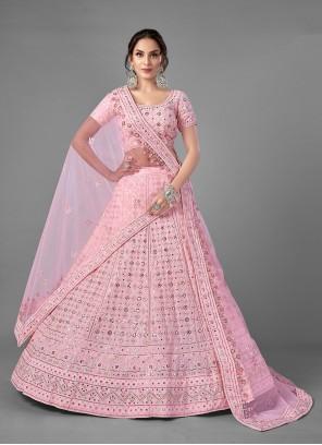 Pink Sequins Georgette A Line Lehenga Choli