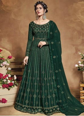 Sequins Green Floor Length Anarkali Suit