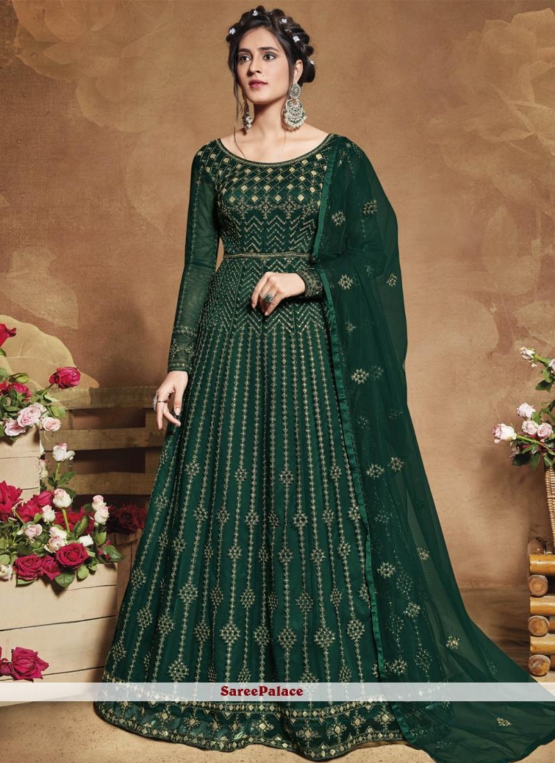 Sequins Green Floor Length Anarkali Suit