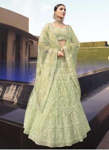 Sequins Green Net Lehenga Choli