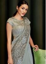 Sequins Grey Lycra Trendy Saree