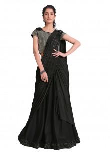 Sequins Lycra Designer Saree in Black