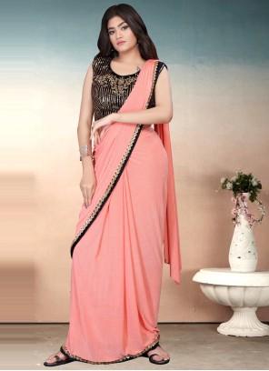 Sequins Lycra Peach Classic Designer Saree