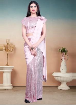 Sequins Lycra Pink Designer Saree