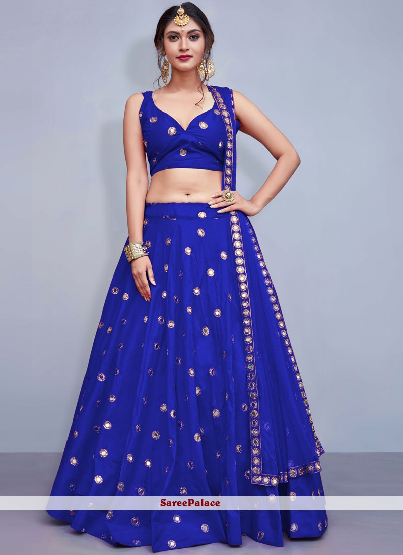 Blue Sequins Mehndi Readymade Lehenga Choli