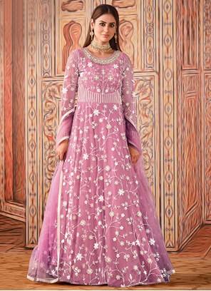Sequins Net Floor Length Designer Suit in Pink