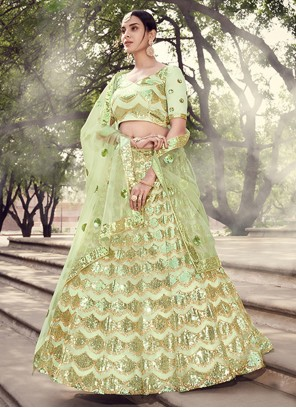 Sequins Net Green Lehenga Choli
