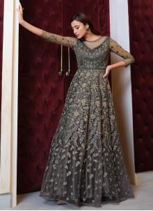 Sequins Net Grey Floor Length Anarkali Suit