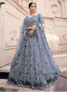 Sequins Net Grey Lehenga Choli