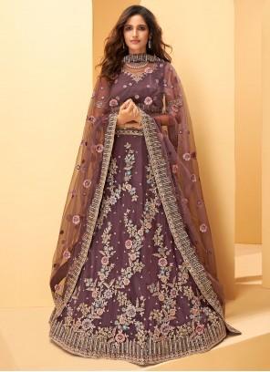 Purple Sequins Net Lehenga Choli