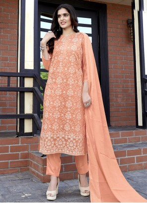 Sequins Peach Fancy Fabric Readymade Suit