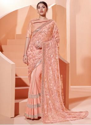 Sequins Peach Lycra Designer Traditional Saree
