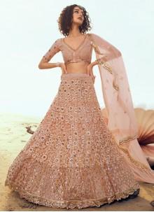 Sequins Peach Net Designer A Line Lehenga Choli