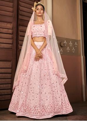 Sequins Pink Georgette Lehenga Choli