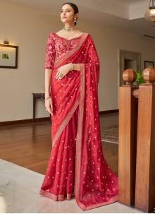Sequins Pink Organza Classic Designer Saree