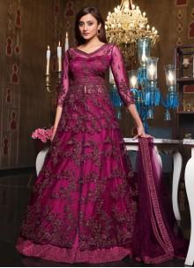 Sequins Purple Net Long Choli Lehenga