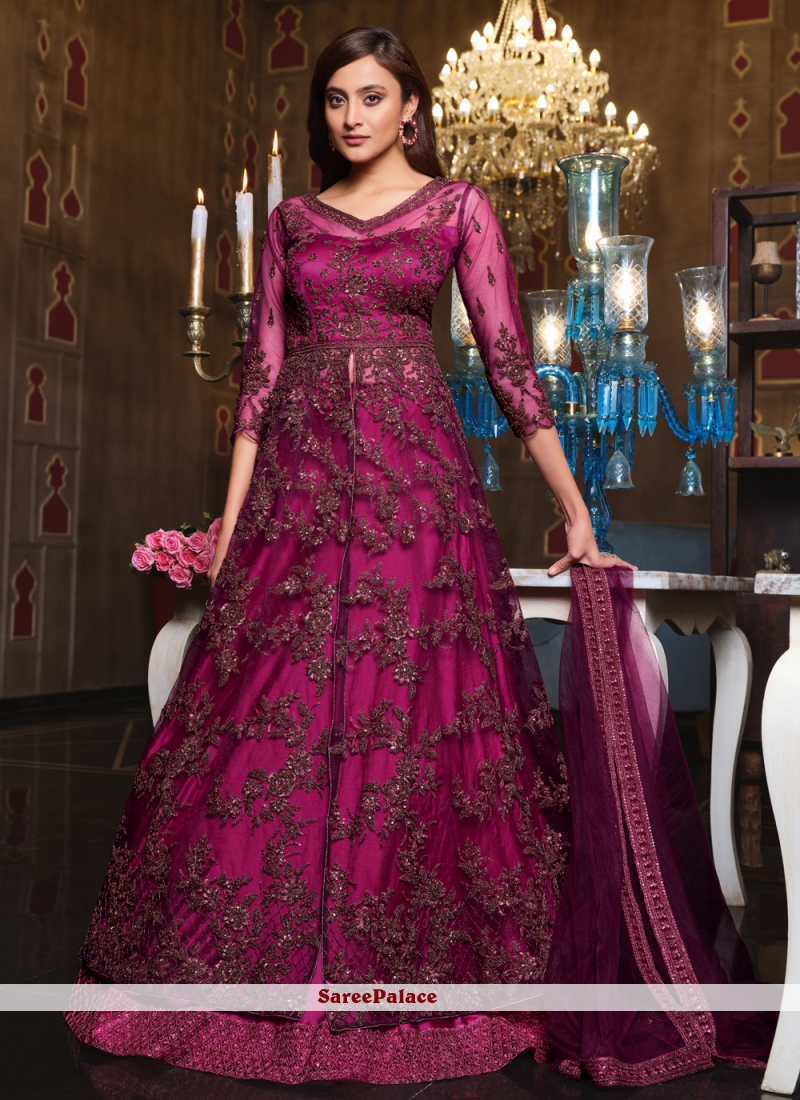 Sequins Purple Net Long Choli Lehenga