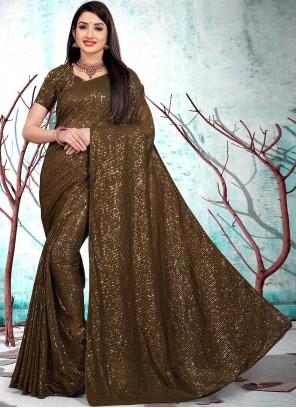 Brown Sequins Sangeet Classic Designer Saree