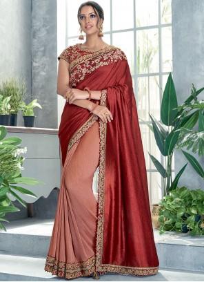 Sequins Silk Peach and Red Classic Designer Saree