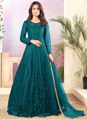 Sequins Teal Net Designer Salwar Suit