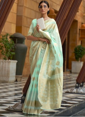 Green Sequins Traditional Designer Saree