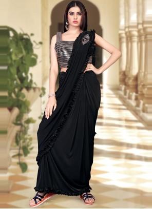 Black Sequins Work Trendy Saree