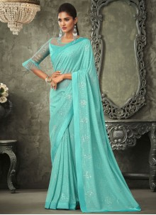 Sequins Turquoise Contemporary Saree