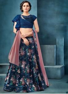Sequins Velvet Trendy A Line Lehenga Choli in Navy Blue