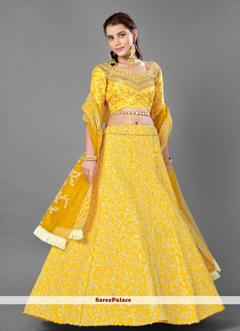 Sequins Yellow Lehenga Choli