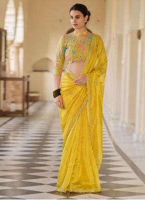 Sequins Yellow Organza Trendy Saree