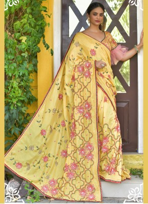 Sequins Hand Embroidery Yellow Silk Classic Saree