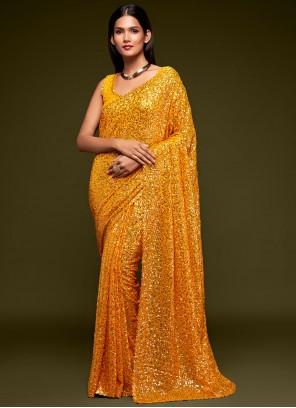 Sequins Yellow Trendy Saree