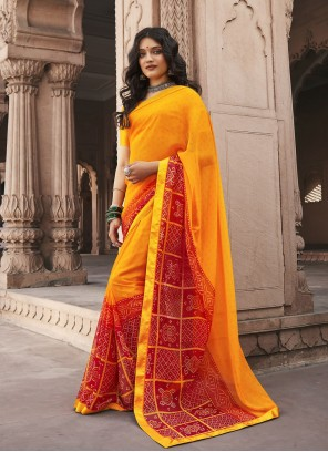 Red And Yellow Faux Georgette Shaded Saree For Casual